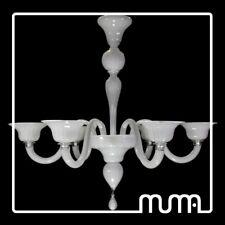 Lámpara de araña 6 luces Vidrio Murano, Blanco Leche, Murano handmade