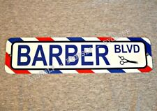 Metal Sign BARBER BLVD shop barbershop pole hair stylist cut chair street
