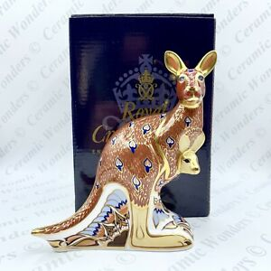 Royal Crown Derby 'Kangaroo' Animal Paperweight - Boxed - Gold Stopper