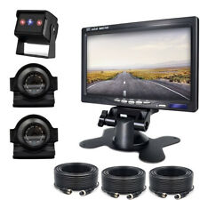 Quad Split 4CH Video Input 7'' Monitor Side/ Rear View Cameras For Truck RV Bus