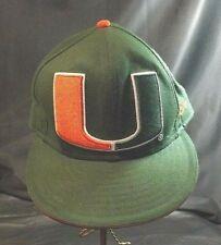 "UNIVERSITY OF MIAMI  BASEBALL CAP GREEN WITH EMBROIDERED ""U"" NEW ERA SIZE 7 1/2"""