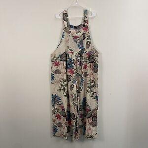 Vonda Womens 3X Wide Leg Overalls Jumpsuit Tank Sleeveless Cotton Floral T103
