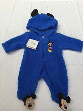 Disney Baby Mickey Mouse All In One Blue Sleeping Coverall Size 0
