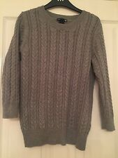 Women's Grey Cable Knit 3/4 Sleeve Jumper - H&M - Size XS