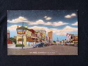 NORTH CAROLINA Fayetteville Hay Street  Old Cars Bldgs Linen Postcard