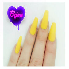 20 Set Bright Yellow Accent Neon Hand Painted Press On Fake False Nails Summer