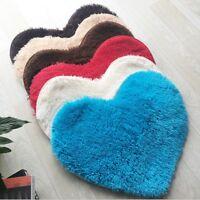 Heart-Shaped Shaggy Fluffy Rugs Anti-Skid Area Rug Carpet Home Bedroom Floor Mat