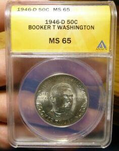 1946-D Booker T. Washington Commemorative Half Dollar 50C ANACS MS65