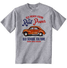 VINTAGE FRENCH CAR RENAULT 4CV - NEW COTTON T-SHIRT