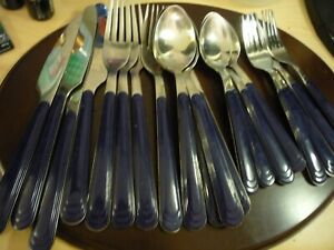 Household home decor kitchen/dining dark blue plastic handle silverware flatware