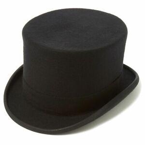 Black Wool Felt Drab Top Hat - Christys - 61