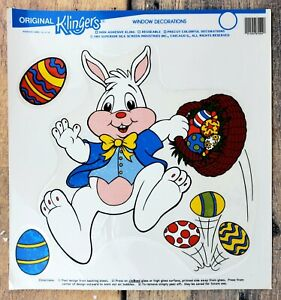 Vintage Easter cling window decorations: 12 sheets of bunnies, chicks, etc.; EUC