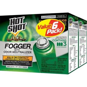 💗 6ct Hot Shot Fogger Insecticide with Odor Bug Insect Fogger Spray 6 Foggers