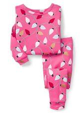 GAP Baby Girls Size 6-12 Months Pink / Gold Christmas Lights Pajamas PJ Set
