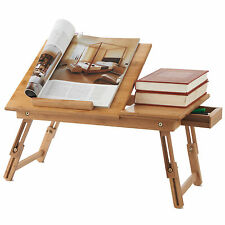 VENTILATED Bedside Laptop IPAD TABLET BOOK  Portable Bamboo Folding Table Stand