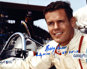 BOBBY UNSER SIGNED AUTOGRAPHED 8x10 PHOTO + INDY WINS RACING LEGEND BECKETT BAS