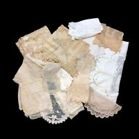 Lot of 16 Antique Vintage Lace Netting Net Pieces Cutters DIY Project Fabric VTG