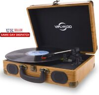 Vinyl Turntable USB Deck Record Player Speakers Bluetooth Retro Briefcase natura