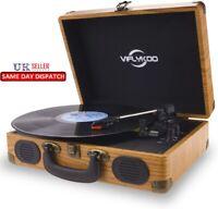 Vinyl Turntable USB Deck Record Player Speakers Bluetooth Retro Briefcase natura