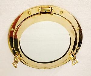 15 inch Brass Porthole Gold Finish Port Mirror Wall Hanging Ship Porthole Decor