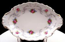 "ROYAL ALBERT TRANQUILLITY PINK ROSES GRAY SCROLLS AND BLUE FLOWERS 8 1/4"" TRAY"