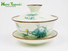 HT-120ml Handpainted Porcelain Kungfu Tea Set  Chin Gaiwan Bird and Plant