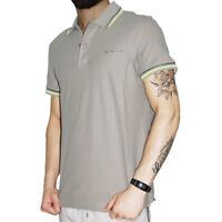 Polo Uomo Lotto Sport Cotone Maniche Corte Colletto T-Shirt Beige Tinta unita