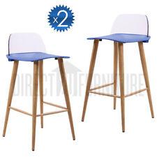 2x TORONTO BLUE Retro Replica Designer Bar Stools Chairs Café Home Modern ABS