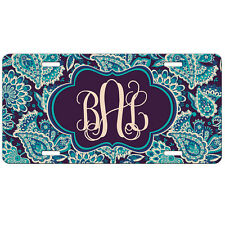 5a09ecb9a3ba License Plate Personalized Teal Paisley Car Tag Monogrammed Vanity Plate  9360