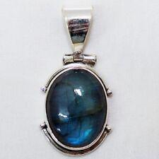 Anhänger Labradorit Silber 925 Blau Grün schimmernd Kettenanhänger Indra