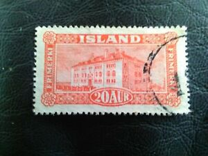 USED STAMP OF ICELAND 1925 NATIONAL MUSEUM REYKJAVIK 20A SCARLET.
