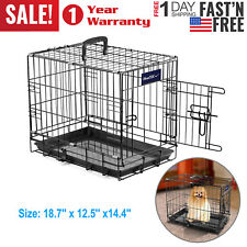 """Small Dog Crate Kennel 18"""" Inch Folding Pet Cage Animal Metal Door Tray Pan XS S"""