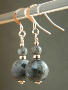 Grey Labradorite Gemstones & 14K Rolled Rose Gold Elegant Handmade Drop Earrings
