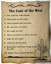BIG 11x14 The Code of the West Poster, v3, cowboy, cowgirl, western, old west