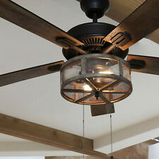 52in 5-Blade Woodgrain Caged Farmhouse LED Lighted Ceiling Fan - Pull Chain