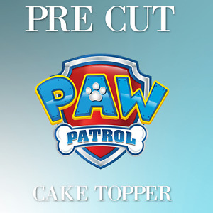 PRE CUT Paw Patrol Edible Icing Logo Blue Cake Topper Decorations
