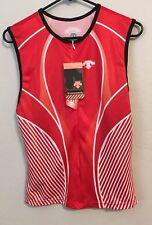 Tri Tank Top Mens X Large Red White Race Jersey Run Cycle Bike Swim Descente