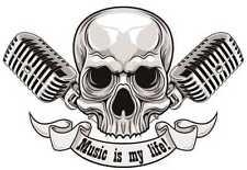 Music is my life! Skull Aufkleber Sticker Musik Bands Rock Roll ca. 12x8 cm