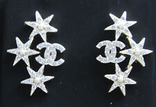 """NIB Auth 2016 Chanel """"CC"""" Crystal Earrings with Silver Stars and Pearl Accents"""