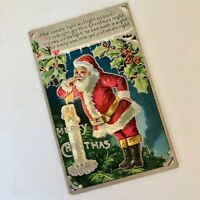 Santa Embossed Postcard Smoking Pipe Antique Christmas 1901-07 Kris Kringle 1