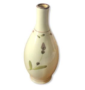 """Crate & Barrel 9"""" Bud Vase Cream Purple Green Floral Ceramic Vase"""