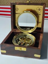 Antique Brass Vintage Brunton Compass w/Wood case and your Custom Engraving.