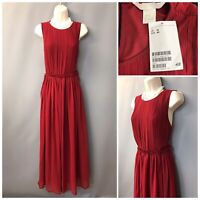 BNWT H&M Red Pleated Sleeveless Maxi Dress UK 14 EUR 40 US 10