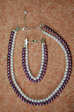 New Purple & White Glass Faux Pearl Beads Adjustable Necklace & Bracelet Set