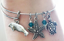 Manatee Sea Cow Turtle Starfish Beach Summer Silver Blue Charm Bangle Bracelet