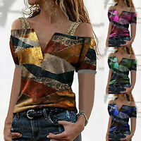 Women Summer Sexy Off Shoulder Strap Tops Casual Print Lady Short Sleeve Blouse