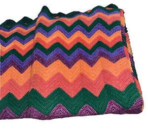 "Afghan Blanket, Green Orange Salmon Purple Chevron Crocheted 84"" X 54"" Handmade"