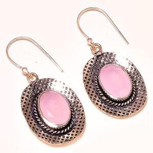 "Madagascar Rose Quartz Gemstone 925 Sterling Silver Handmade Earring 1.8"""