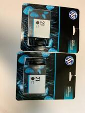 Two (2) Genuine Sealed In Box Hp 21 Black Ink Cartridge