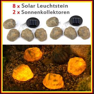 8x Solar Leuchtstein LED Solarlampe Solarleuchte Gartenlicht Außen-Beleuchtung